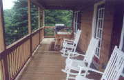 boone nc log cabin - rear porch with mountain view